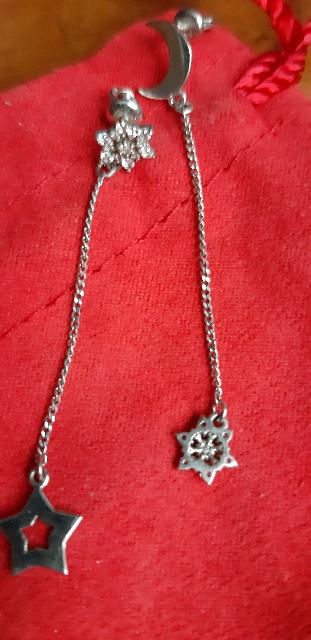 Серебряные сережки,звездочки и месяц.