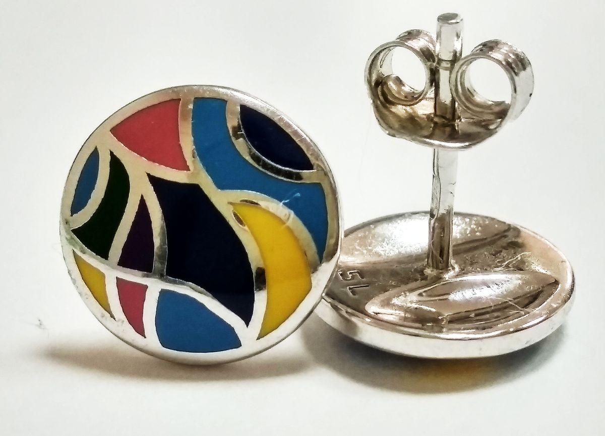Отличные серебряные серьги-гвоздики с эмалью! Рекомендую всем