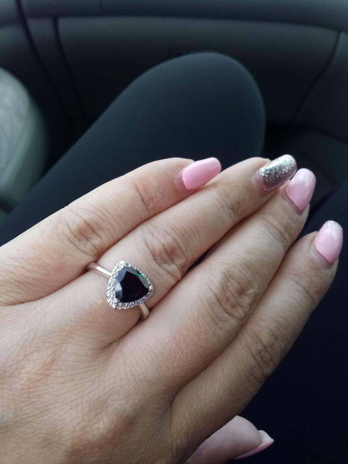 Кольцо серебро, гранат