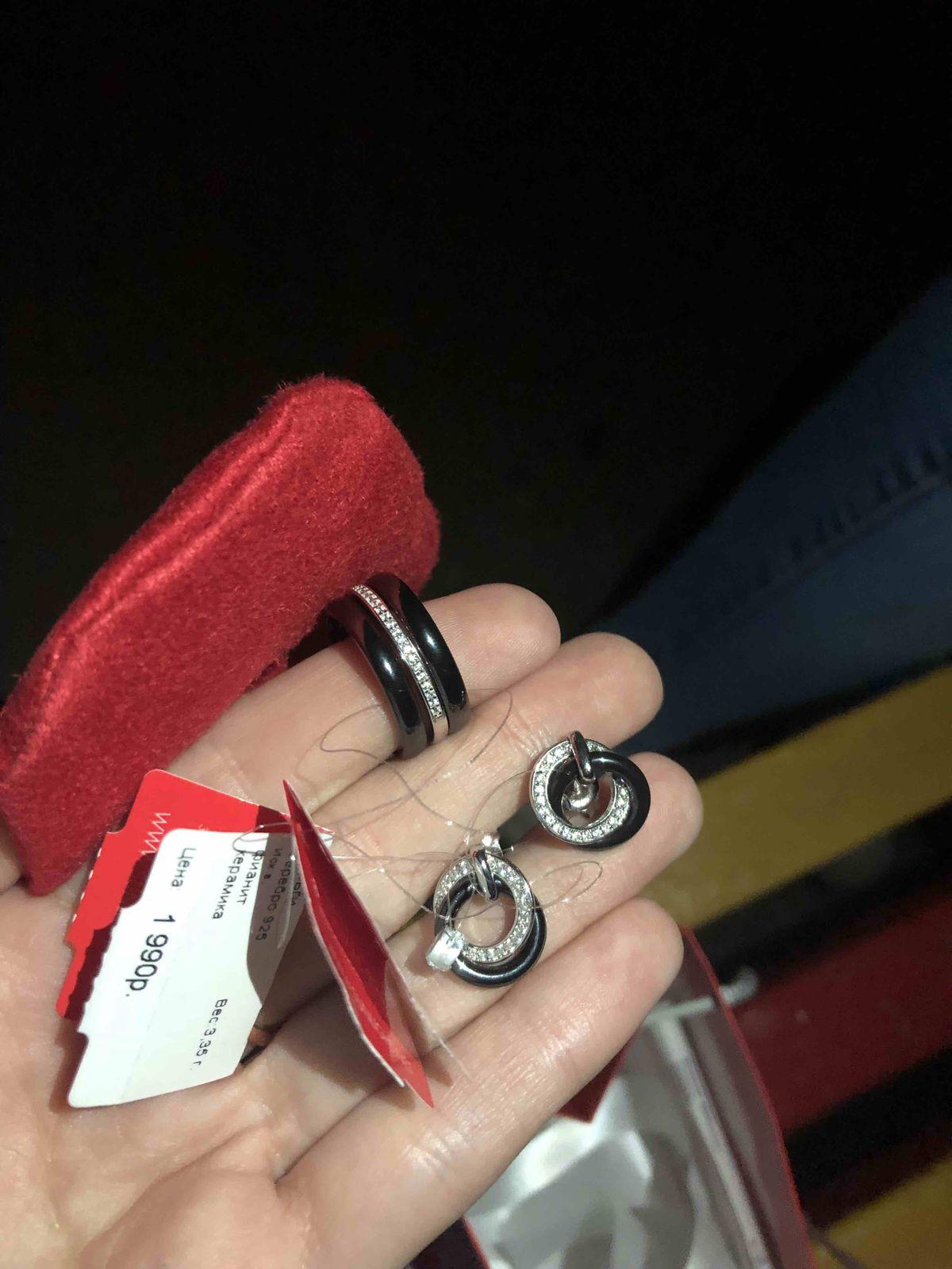 Серебряные сережки с керамикой