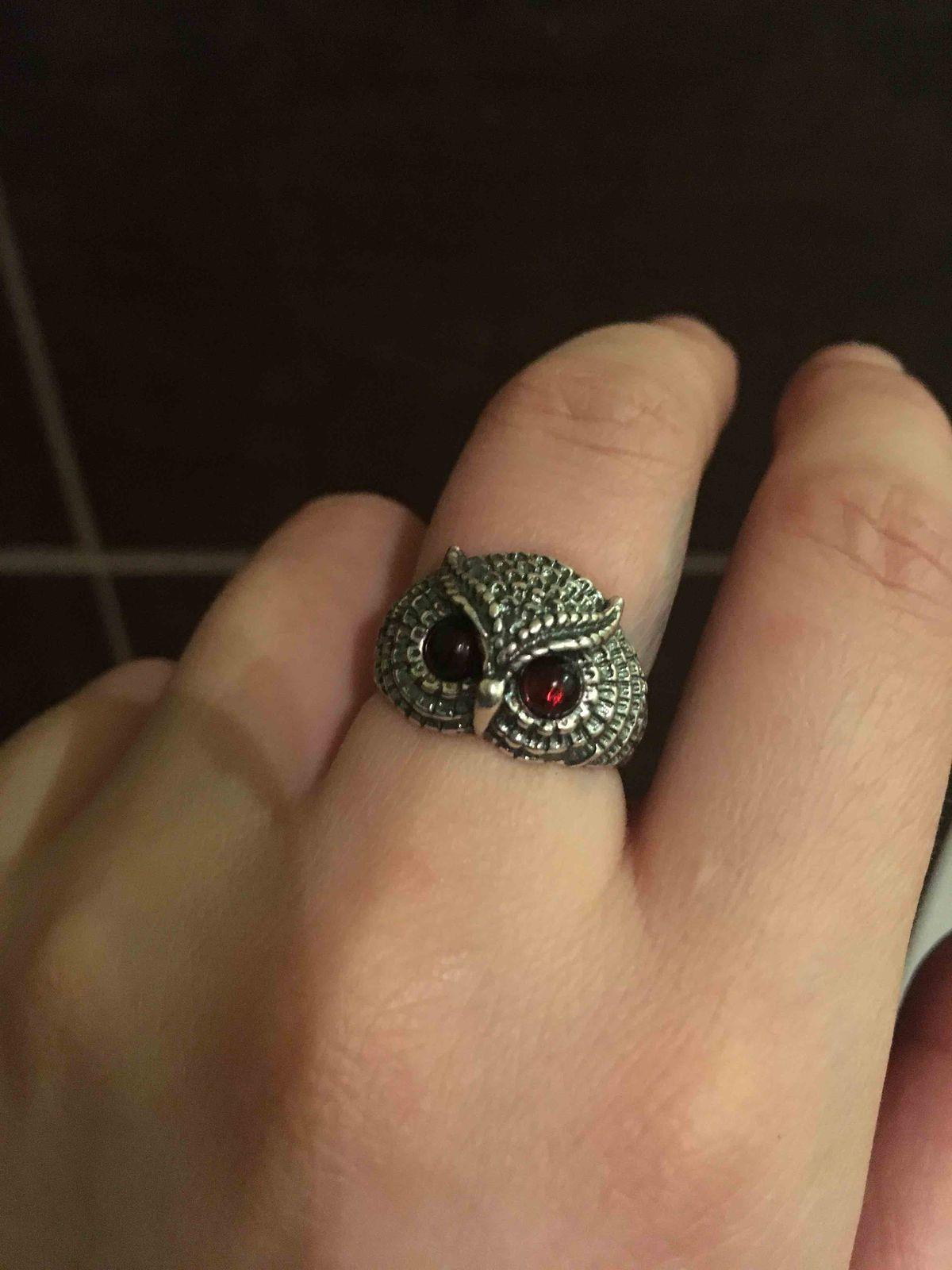 Кольцо сова с камнями.
