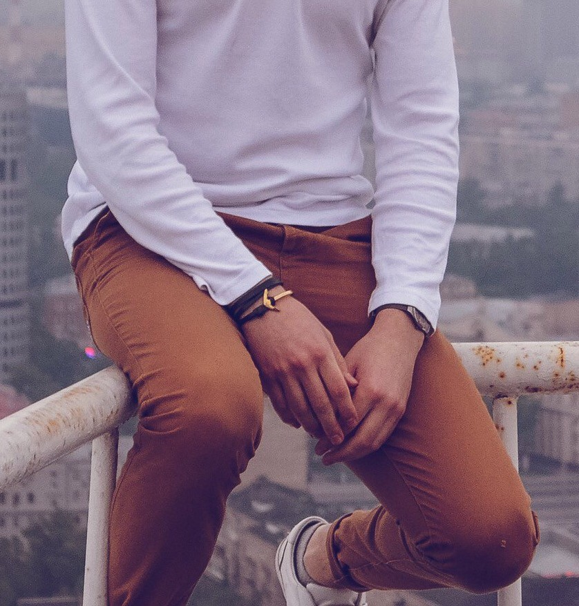 Мужской браслет с якорем