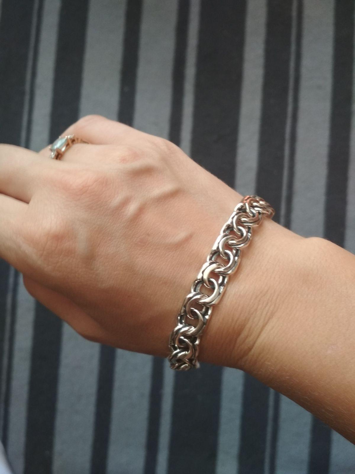 Солидный серебряный браслет