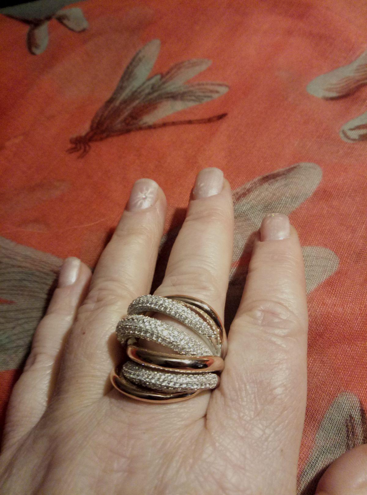 Серебряное кольцо в позолоте с фианитами