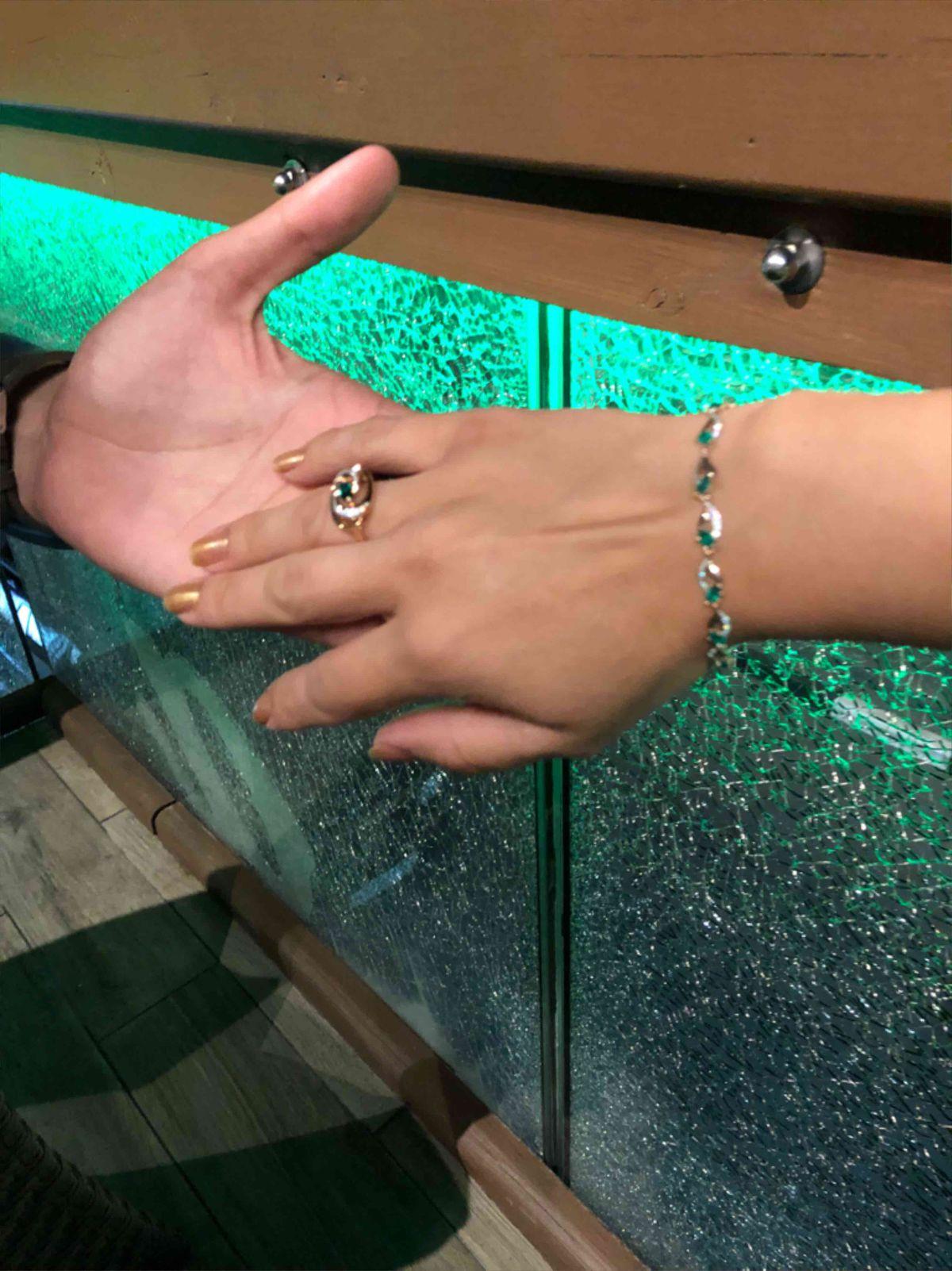 Золотой браслет с зеленым агатом💚